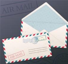 白色航空邮件设计矢量素材