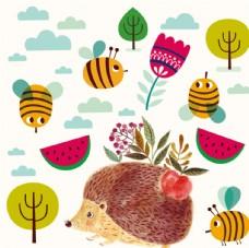 刺猬 蜜蜂