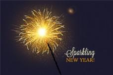 闪亮烟花新年贺卡矢量图