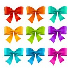 彩色蝴蝶结设计矢量图