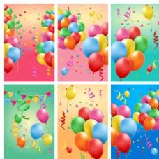 彩色气球卡片矢量素材