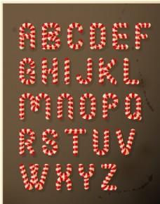 圣诞糖果英文字母矢量图
