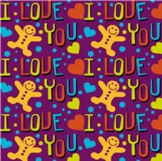 爱心与姜饼人无缝背景矢量图