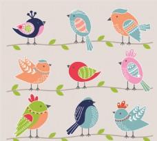 卡通鸟设计矢量图