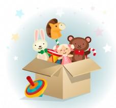 纸箱里的可爱玩具矢量素材