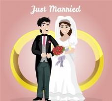 金色戒指和新娘新郎矢量素材