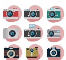 9款创意照相机图标矢量图