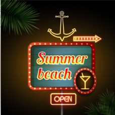 夏季沙滩酒吧霓虹招牌矢量图
