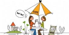 一起喝咖啡休闲的情侣