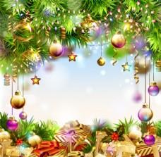 精美圣誕球掛飾背景矢量素材