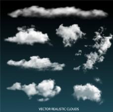 白色逼真云朵设计矢量素材