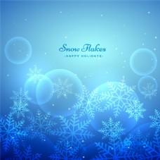 蓝色雪花光晕背景矢量素材