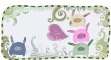 卡通动物插画-快乐的彩色小猪