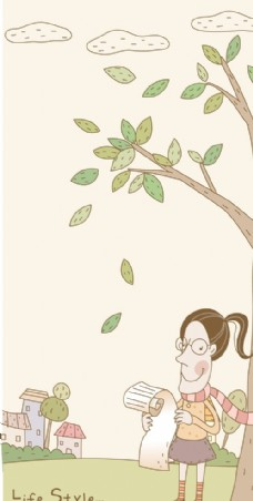 站在树下看情书的女孩