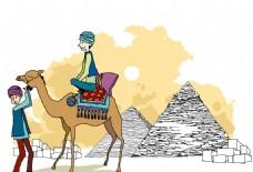 在埃及旅游的男生