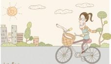 骑脚踏车出行的女人