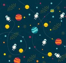 宇宙元素无缝背景矢量素材