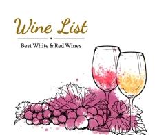 水彩葡萄酒酒水单矢量素材