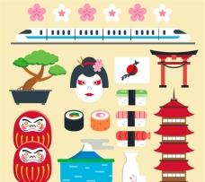 卡通日本元素设计矢量素材