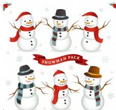 可爱圣诞雪人矢量图