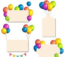 气球装饰卡片矢量素材