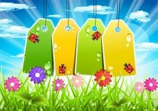 春季空白吊牌矢量素材