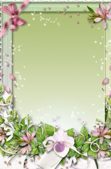 绿色清新花纹相框