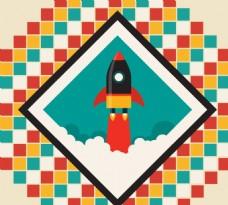 创意升空火箭挂画矢量素材