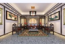 中式中堂大厅客厅
