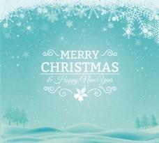 冬季雪原圣诞贺卡矢量素材