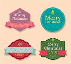 彩色圣诞快乐标签矢量素材