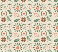 彩绘圣诞节植物无缝背景矢量图