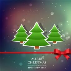 精美圣诞树贴纸贺卡矢量素材