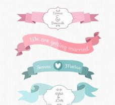 婚礼彩带边框花纹