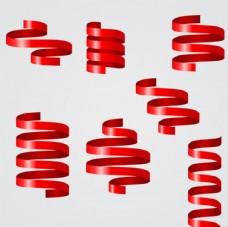 红色螺旋丝带矢量素材
