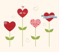 卡通心型花朵贺卡矢量素材