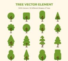 绿色树木设计矢量素材