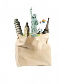 地标建筑纸袋免抠素材