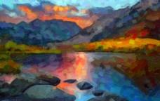 乡村彩虹天 数字油画风格