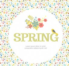 春季卡通碎花背景矢量素材