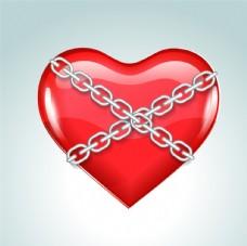 创意铁链捆住的爱心矢量素材