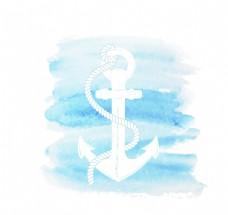蓝色水彩船锚