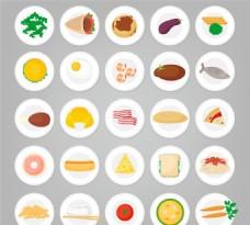 圆盘中的食物矢量图