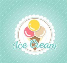 清新挖球冰淇淋海报矢量素材