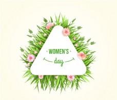 创意妇女节花卉三角标签矢量素材