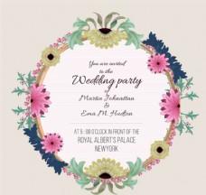 彩色花卉婚礼邀请卡矢量素材
