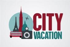 创意城市旅行度假背景矢量素材