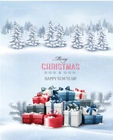 圣诞节雪中礼盒贺卡矢量素材