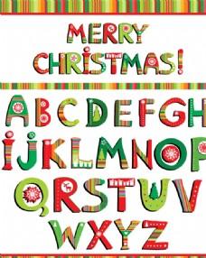 26个圣诞英文字母设计矢量图