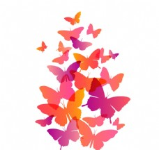 缤纷蝴蝶剪影设计矢量图